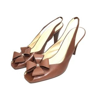Kate Spade Cognac Leather Flower Slingback Heels